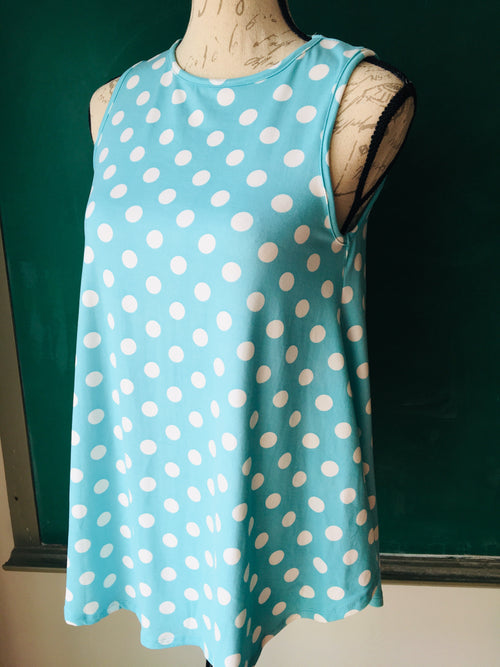 Aqua Polka Dotted Sleeveless Top