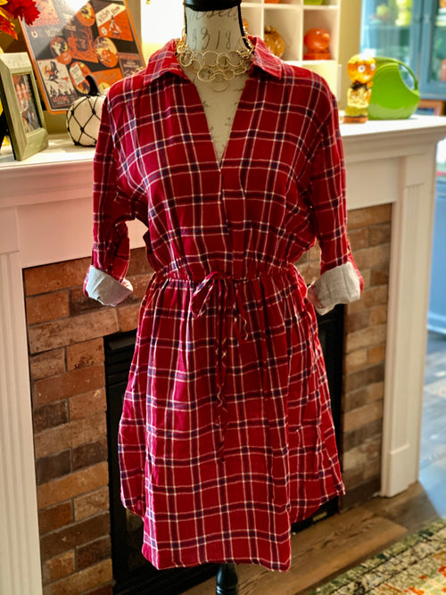 Red Plaid Roll-Up Sleeve Dress