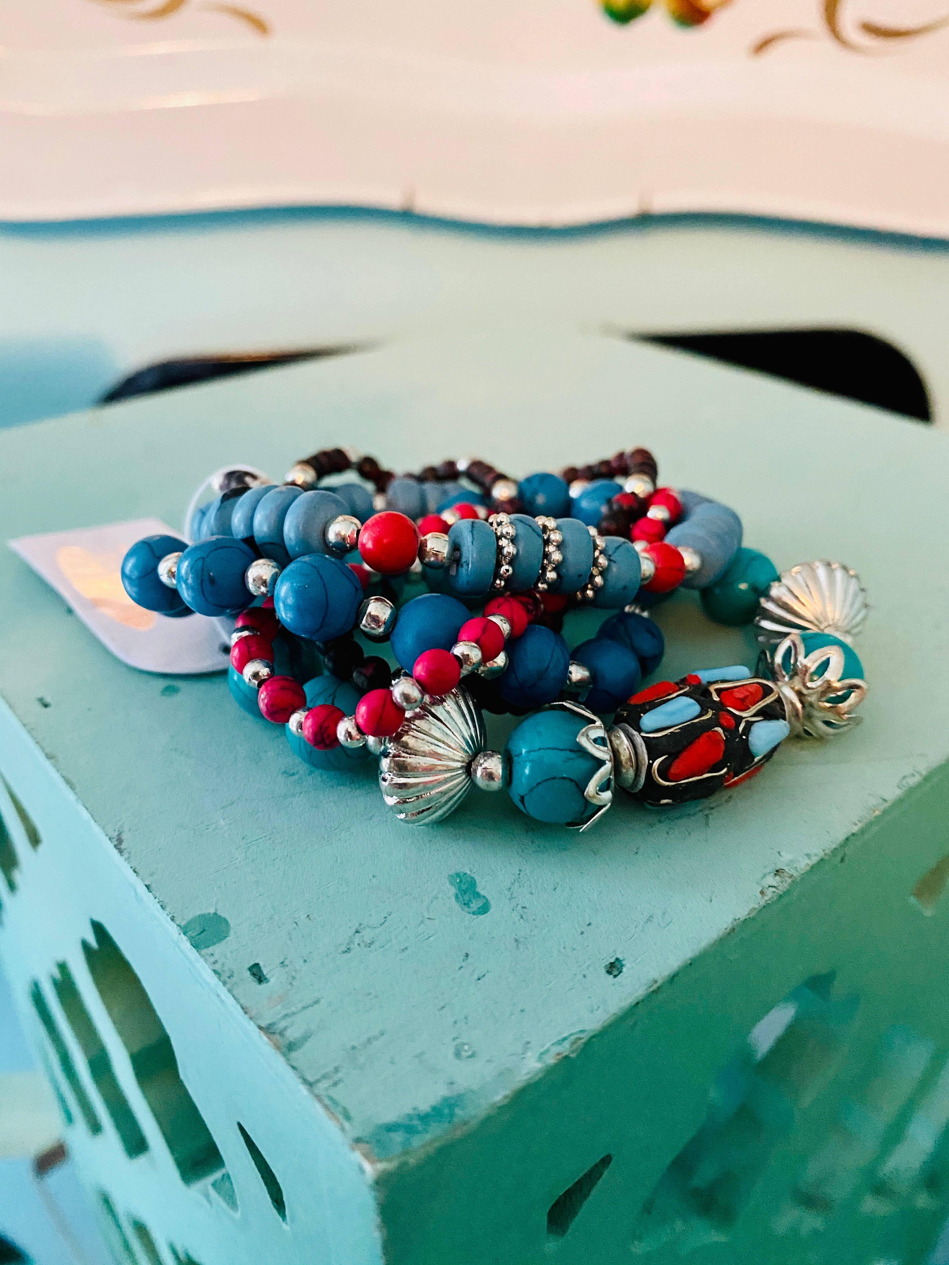 SET: Stone & Clay Beads in Red & Turquoise - set of 5