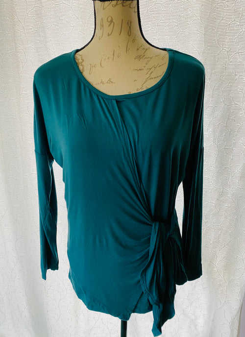 Teal Knit Top with Side Tie