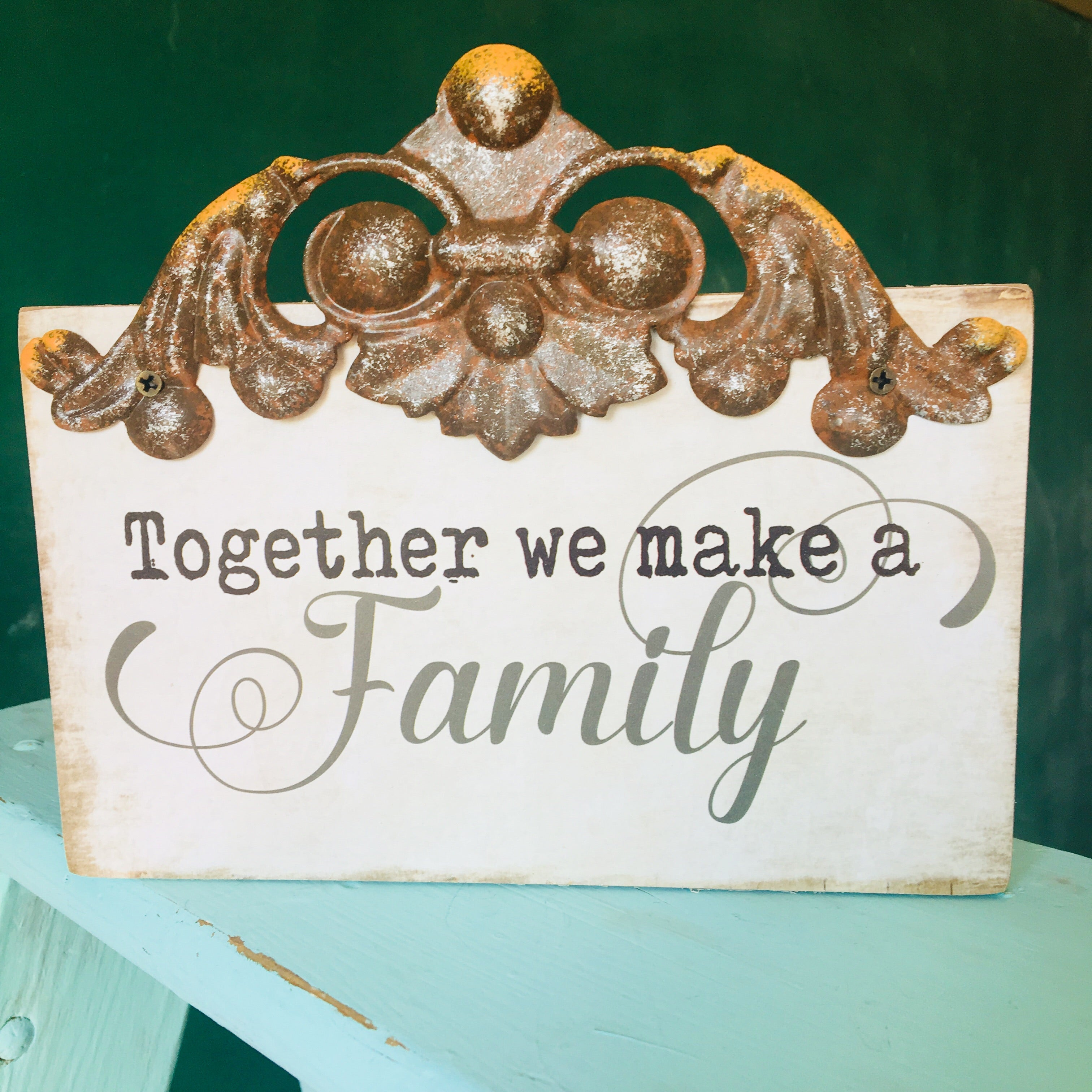 FAMILY Metal & Wood Box Sign
