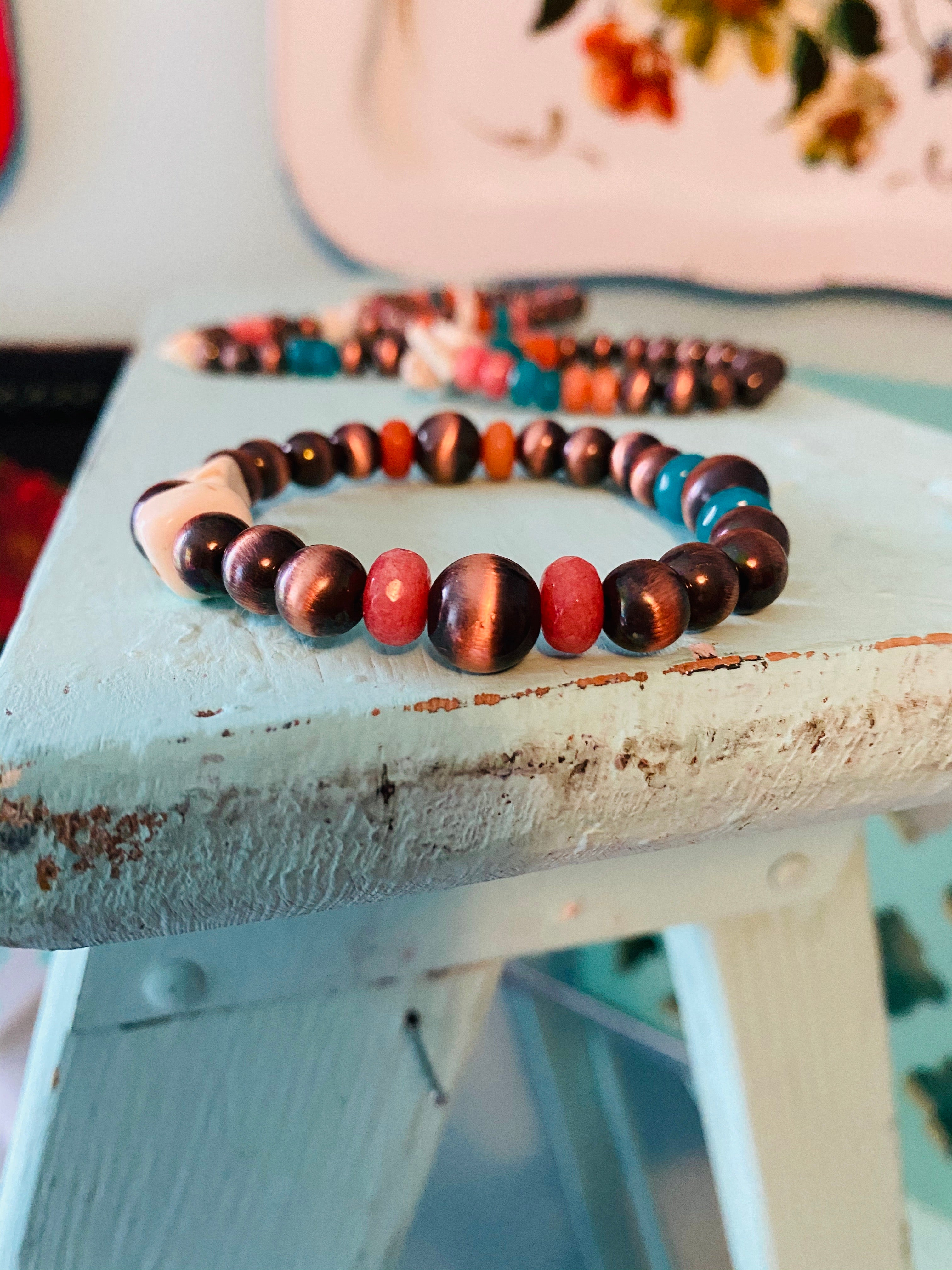 SET: Copper Navajo Pearl, Stone, and White Chip Bead Bracelets