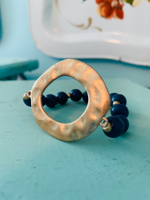 Viv & Lou: Navy Beaded Bracelet with Gold