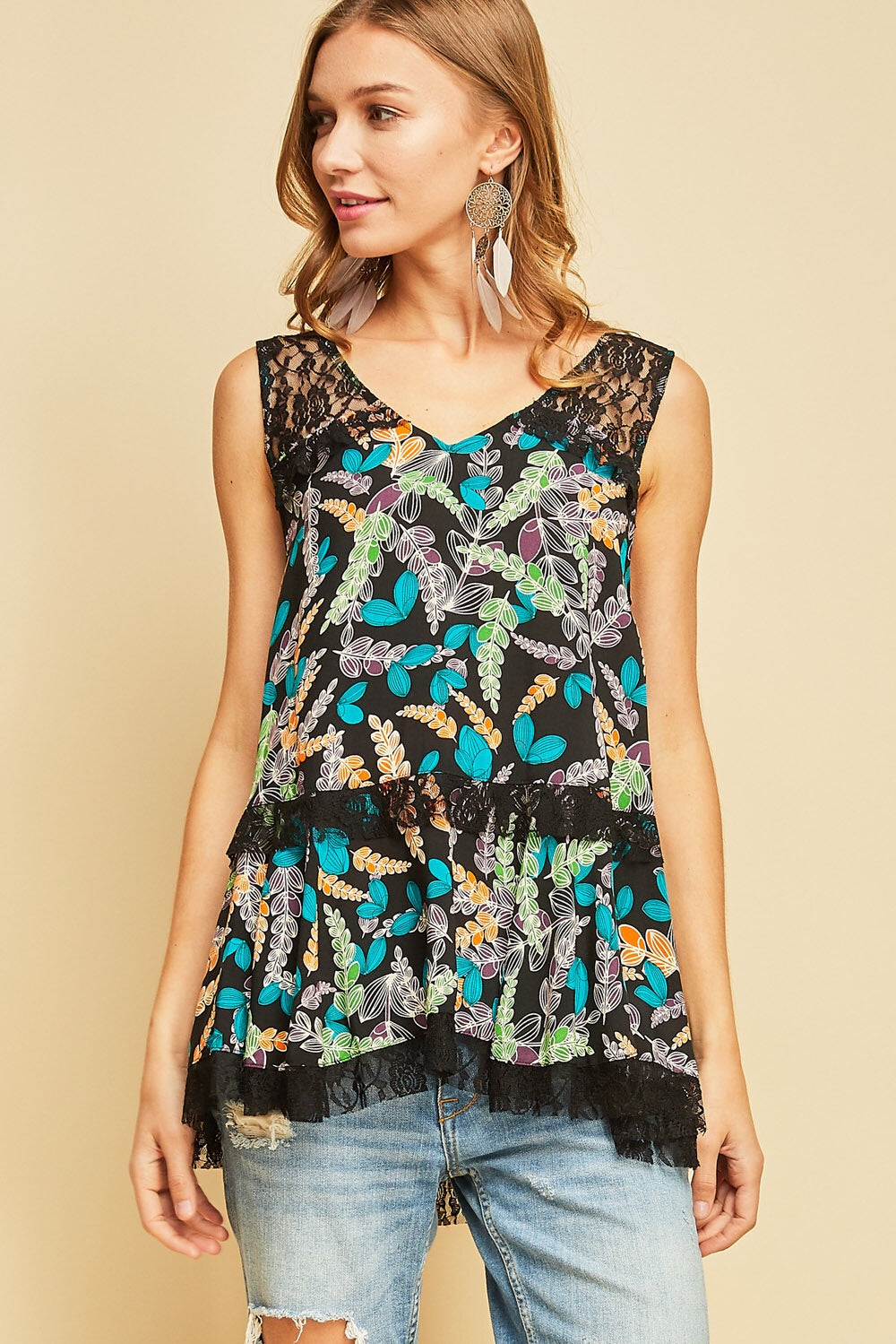 Tropical V-Neck Top