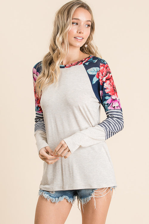 Navy Stripe & Floral Colorblock Knit Top