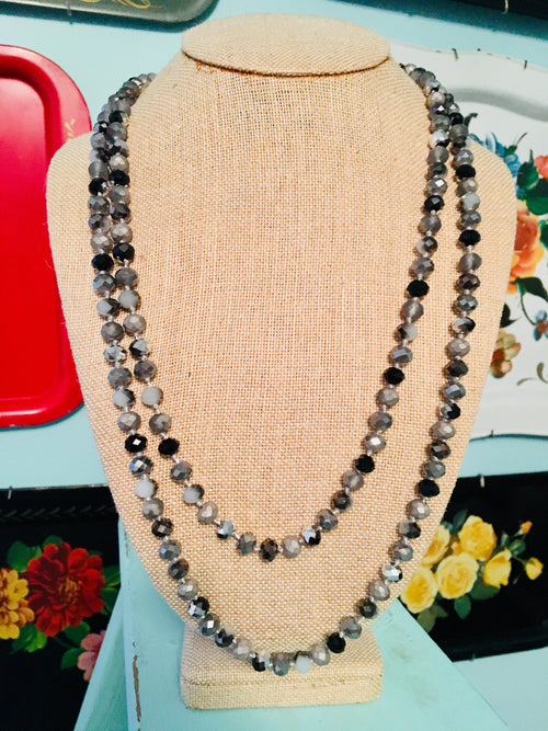 Black & Gray Diamond Faceted Endless Bead Necklace & Earring SET