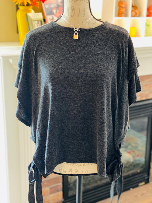 Charcoal Flounce Knit Top with Side Tie