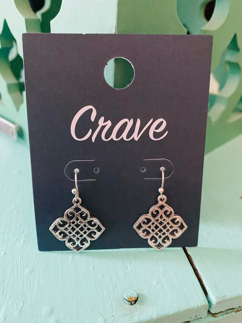 Moroccan Filagree Earrings in worn Silver Tone