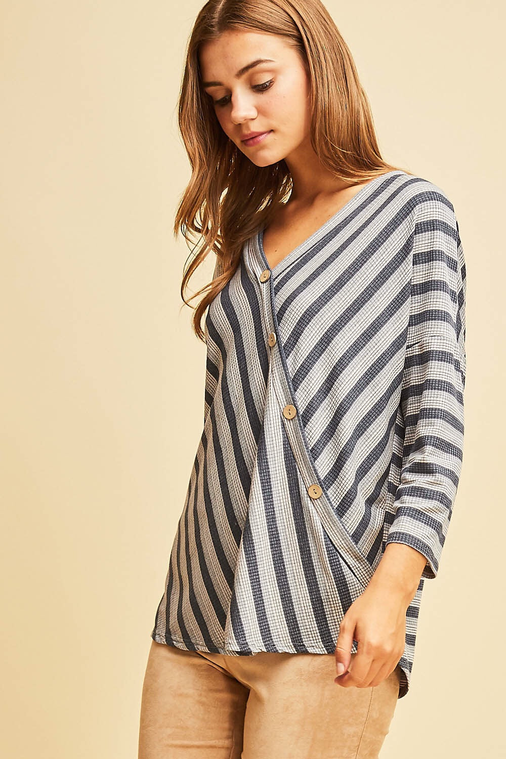Blue Striped Button Accent Top