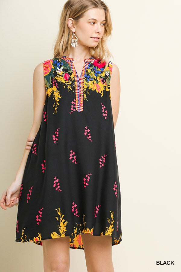 Black Floral Lined Sleeveless Dress