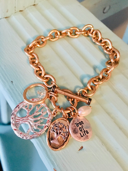 Tree of Life Charm Toggle Bracelet