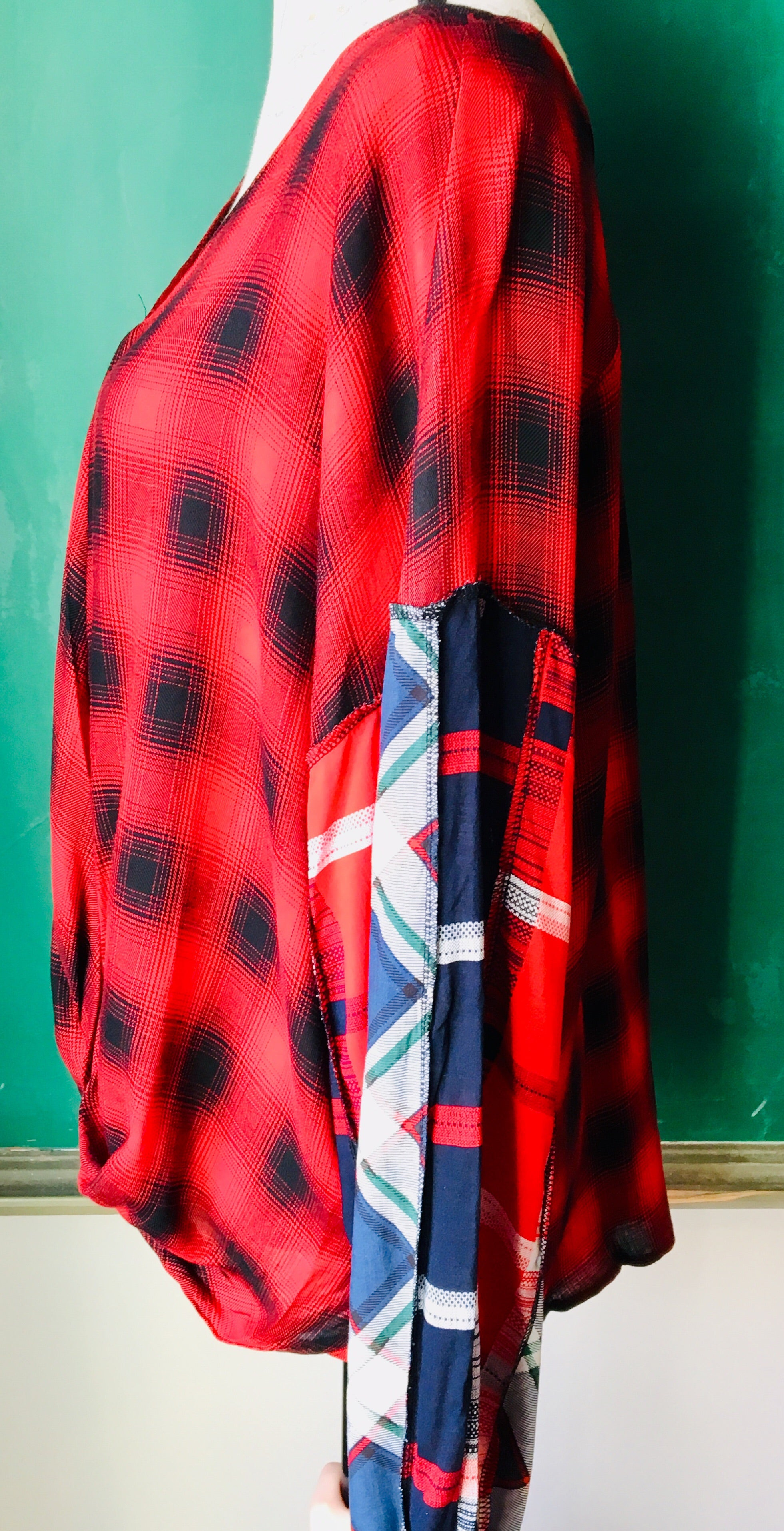 Red Mix Plaid Surplice Top