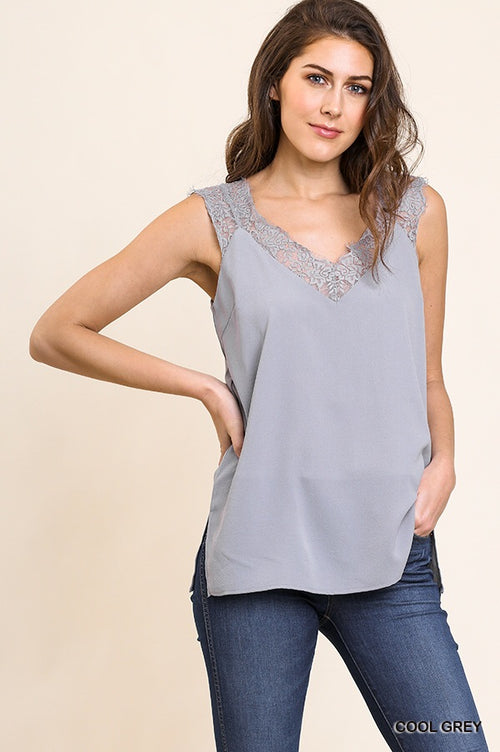 Cool Gray Sleeveless Top with Lace Trim