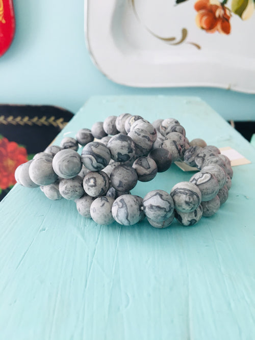Crazy Jasper: Grayed Black - Semi Precious Stretch Bracelet