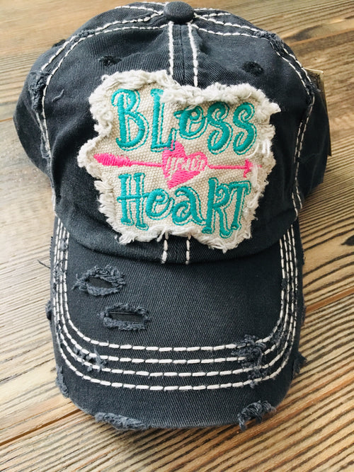 Distressed Black Bless Your Heart Cap
