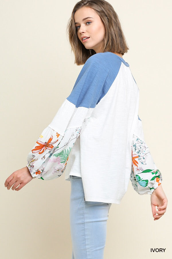 White Puffer Sleeve Colorblock Top