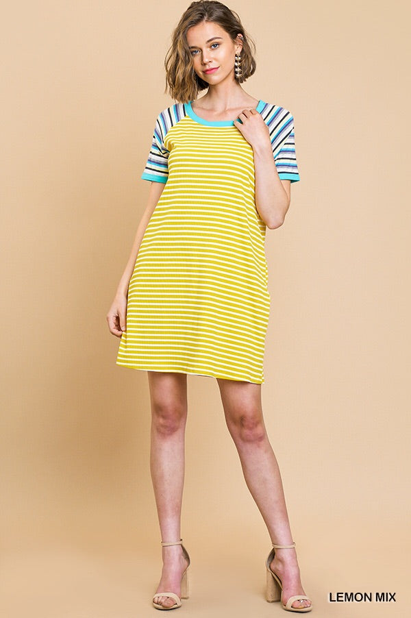 Umgee Lively Lemon Mix Knit Dress
