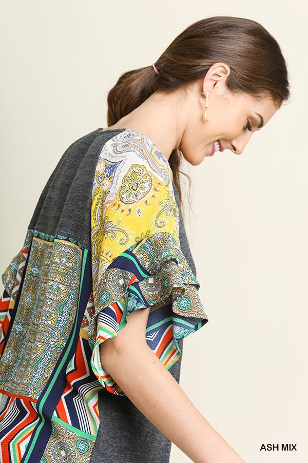 Umgee Mixed Print Heathered Top