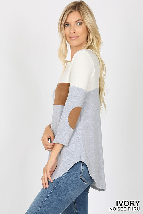 Ivory and Heather Gray Block Top with Elbow Patches!