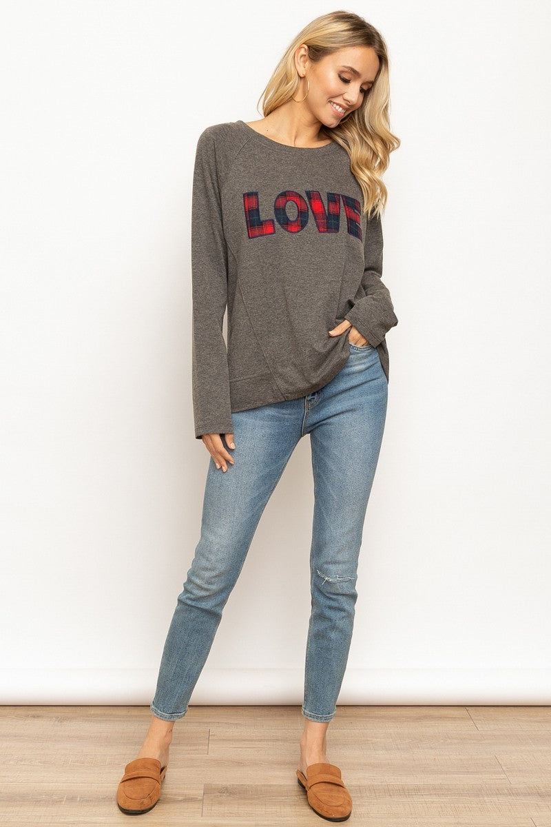 Charcoal & Plaid Embroidered LOVE Top