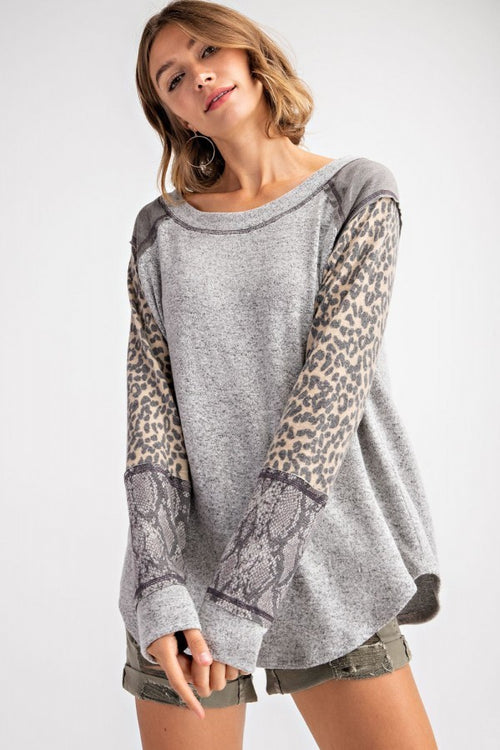 MiXeD Print Top: Heather Gray Camo, Cheetah, Snakeskin