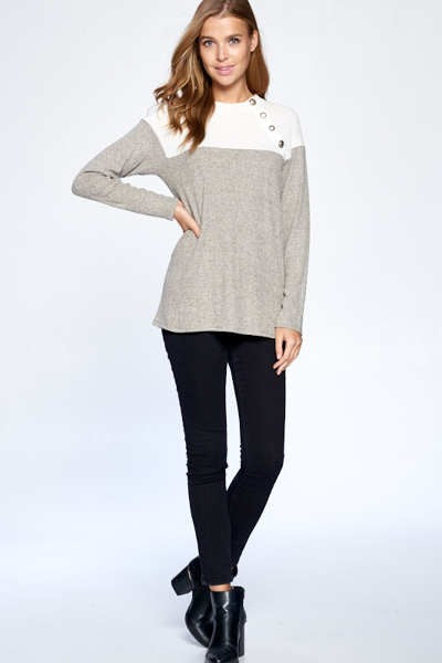 Mocha & Cream Knit Top