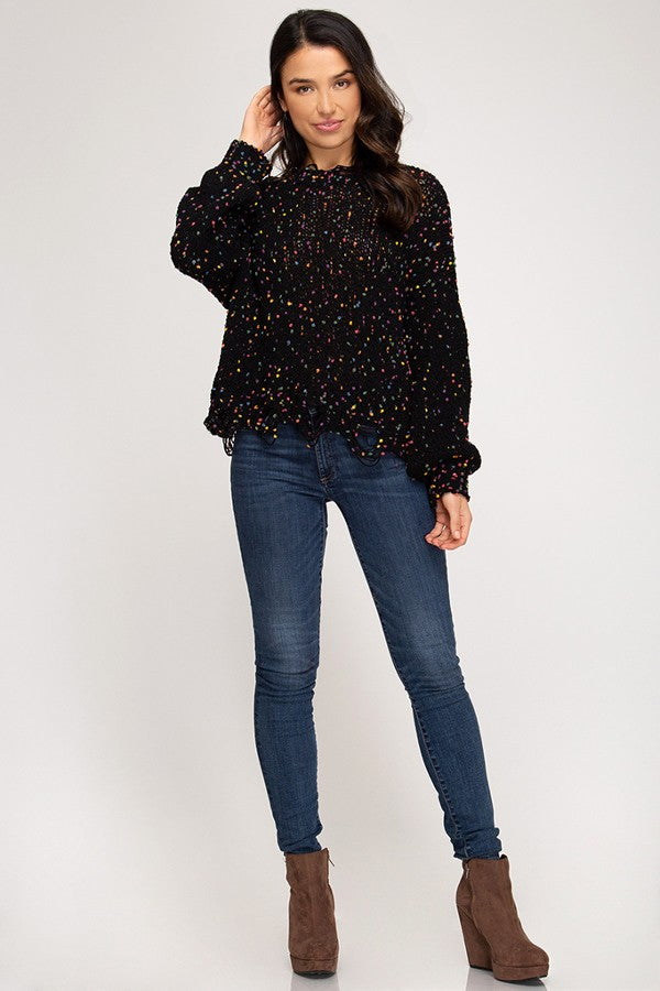 Black Chenille Distressed Hem Sweater