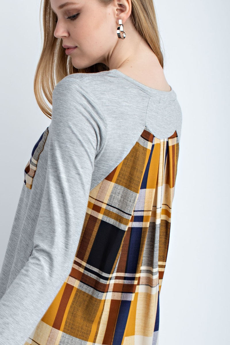 Heather Gray Plaid Backed Top
