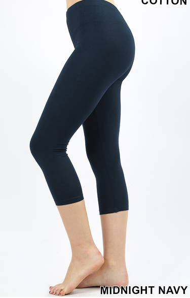 Cotton Capri Leggings: Heather Gray, Midnight Navy or Light Olive
