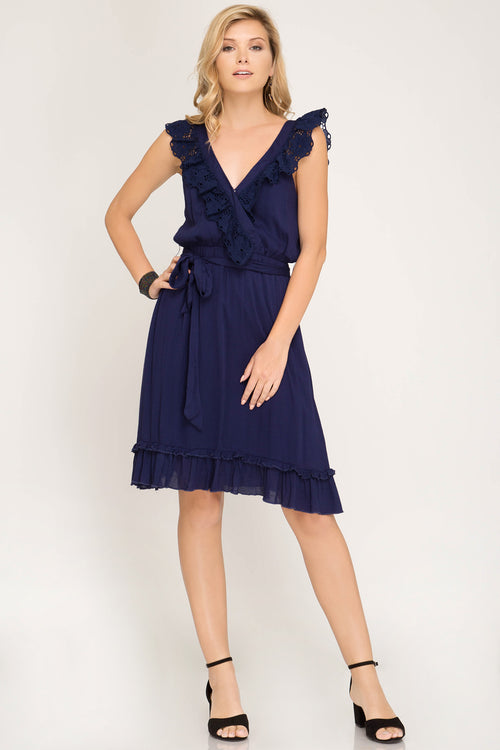 Scalloped Navy Sundress with Eyelet Trim