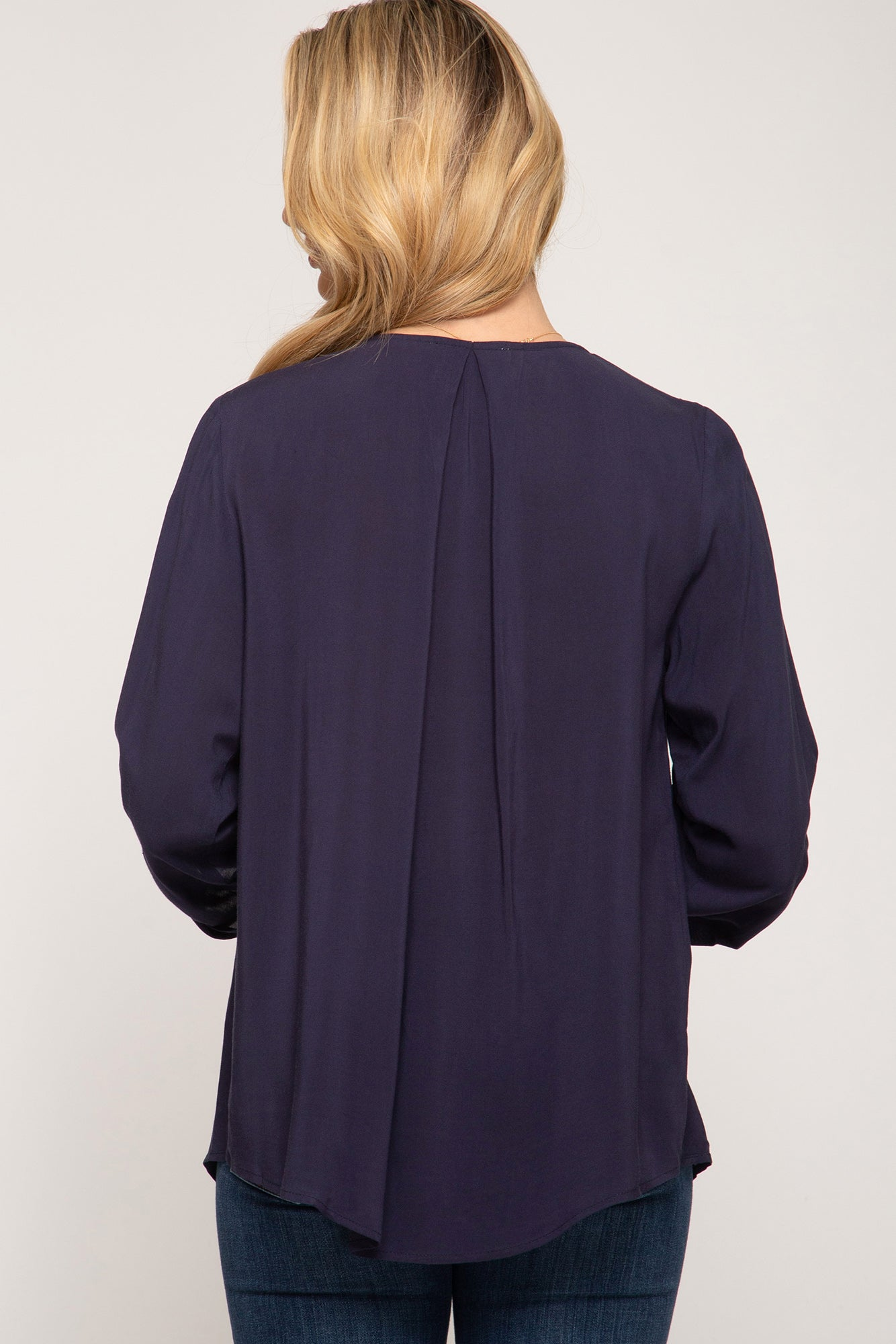 Roll-Up Sleeve Navy Lightweight Top