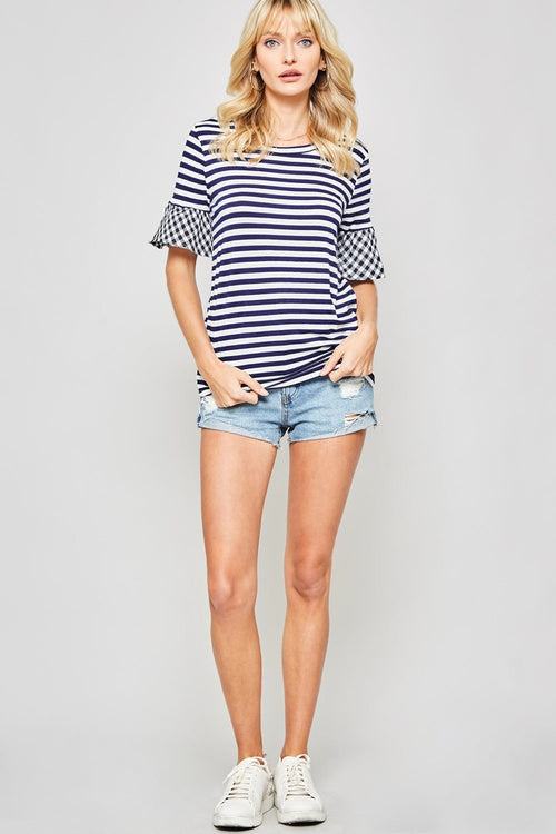 Navy Striped Knit Top with Gingham Sleeve