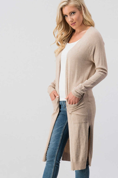 Long Cardigan with Pockets: BLACK or OATMEAL