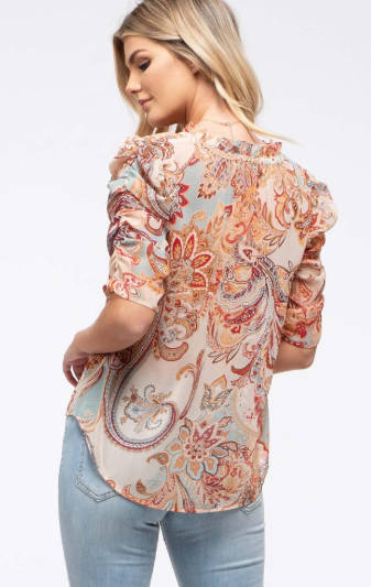 Paisley Shirred Sleeve Top