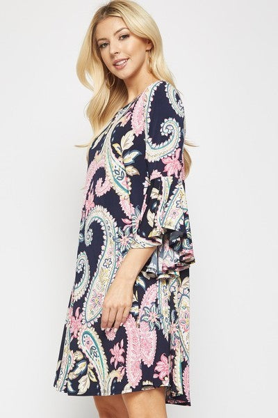 Stretchy Navy Paisley Dress with POCKETS