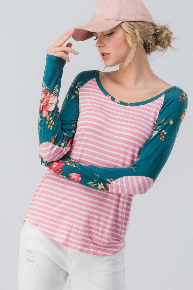 pink white striped, knit shirt, teal floral arms, small, medium, large, too qute boutique, www.tooquteboutique.com