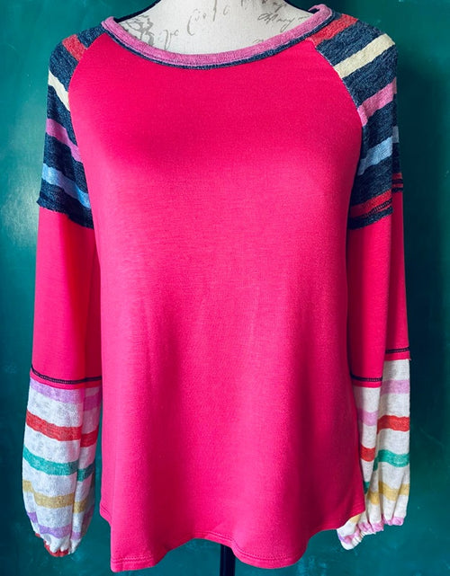 Hot Pink Mixed Stripe Top