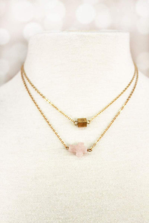 Pink Stone Sideways Cross Layered Necklace