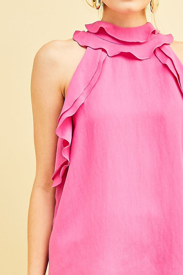 Fuchsia Tiered Ruffle Top