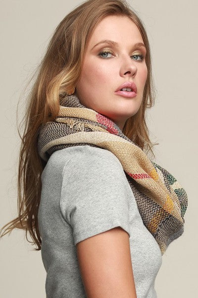 Classic Gray & Green Plaid Infinity Scarf