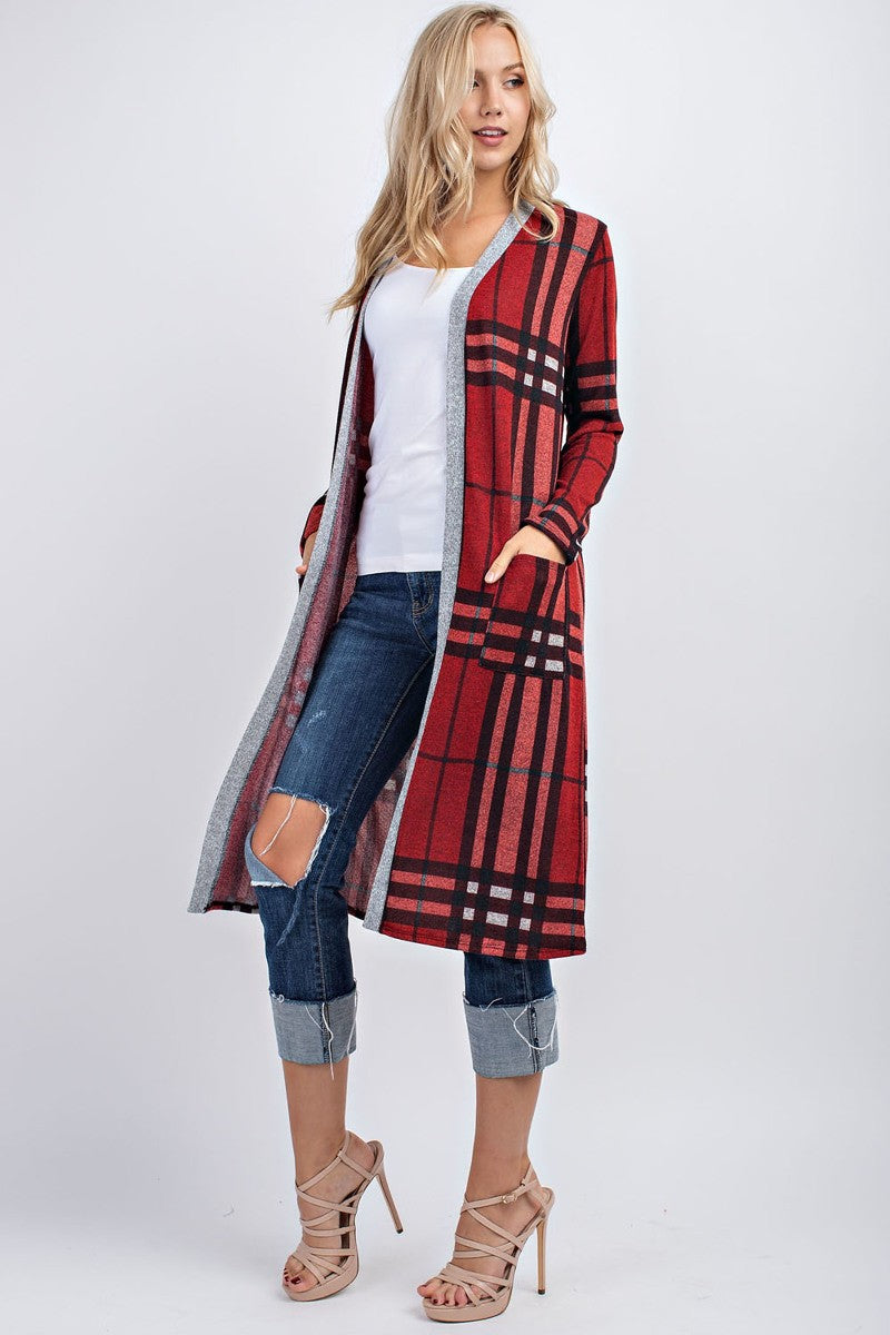 Brick & Black Long Plaid Cardigan