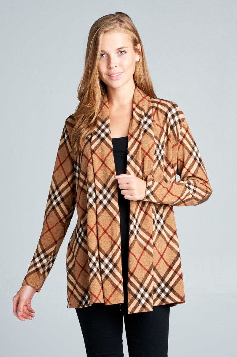 Taupe Traditional Plaid Cardi