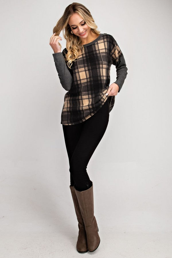Brushed Plaid Top with Button Details