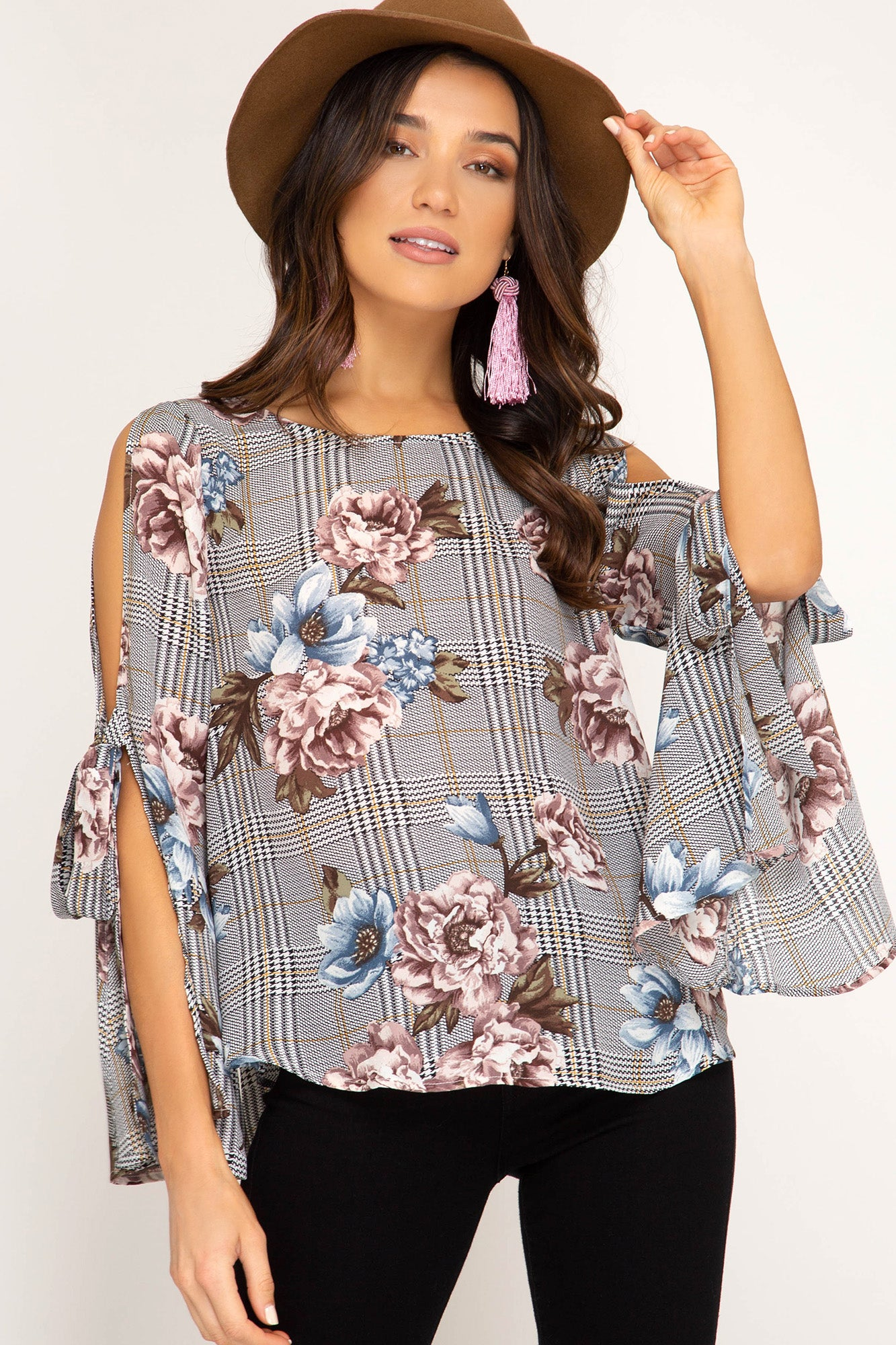 Glen Plaid & Floral Print Open Sleeve Top