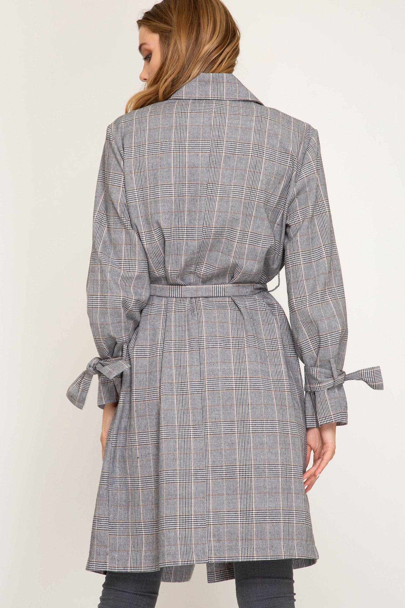 Classic Black & Cream Glen Plaid Jacket with Tie Waist and Pockets