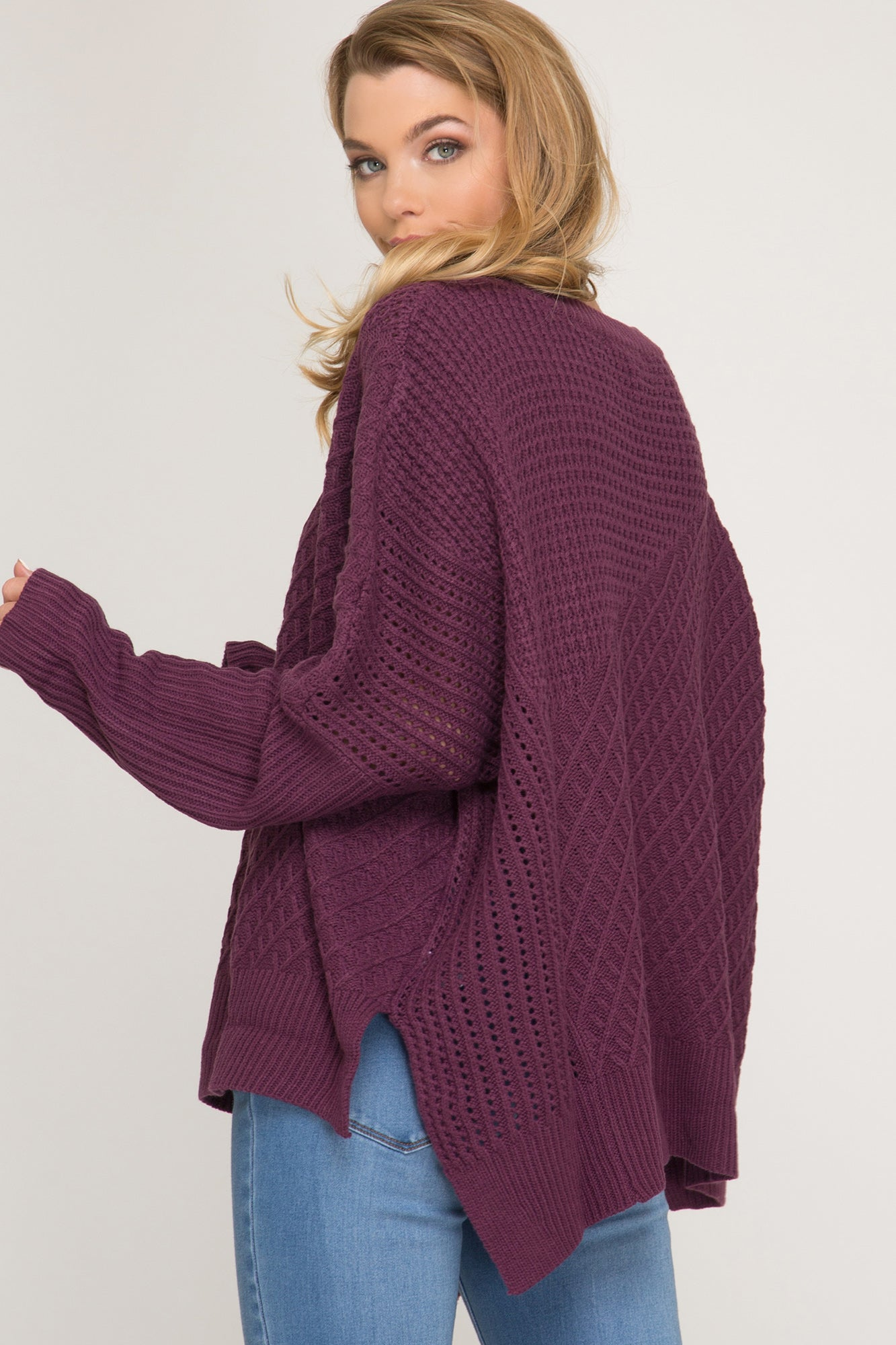 PLUM-perfect Side Zip Chunky Sweater (misses OR curvy)