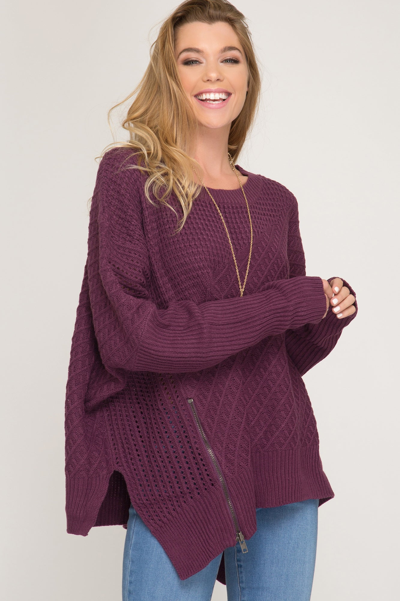 plum, chunky sweater, plus, curvy, one size, misses, she & sky, too qute boutique, www.tooquteboutique.com, new, fall, winter, cozy, warm, soft, knit