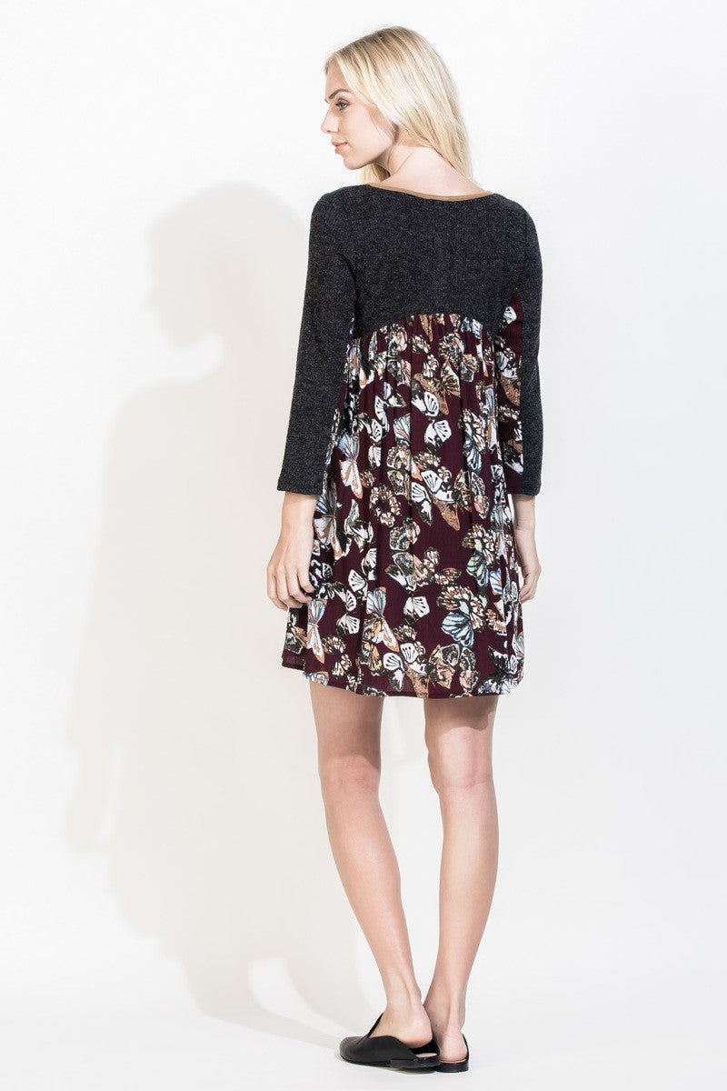 THML Plum & Charcoal Back-Printed Tunic Dress