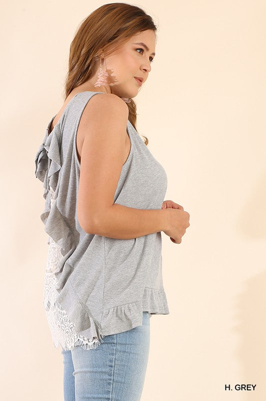 Curvy Umgee Heather Gray Sleeveless Top with Back Lace Details