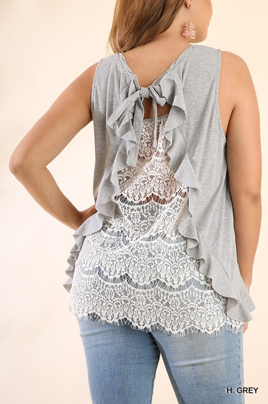 www.tooquteboutique.com, too qute boutique, umgee, sleeveless top, gray, lace back, ivory lace, ribbed knit, soft, comfy, xl, 1x, 2x plus size, curvy